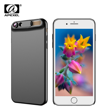 APEXEL New 10X super macro lens micro phone camera lens kit with back case For iPhone 6 6s plus 7/8