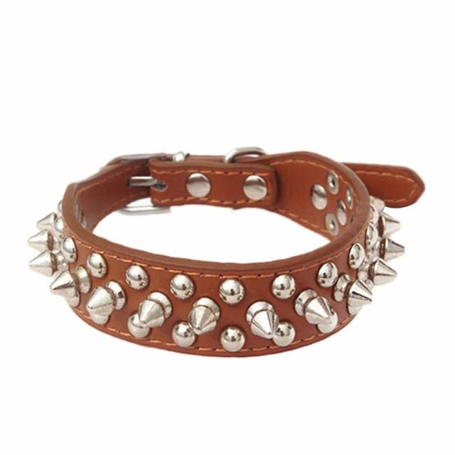 Candy Color Leather Rivet Spiked Dog Collar