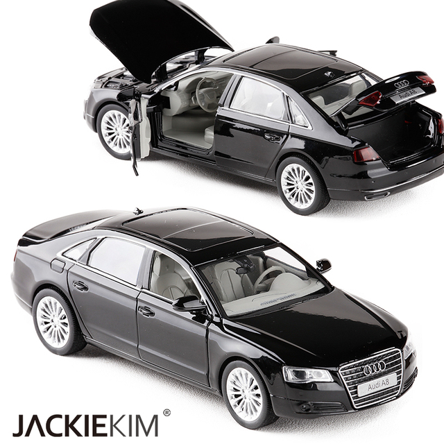 High simulation 1:32 AUDI A8 Alloy Car Model Metal Toy Vehicles With Pull Back Flashing Musical For Kids Toys Free Shipping