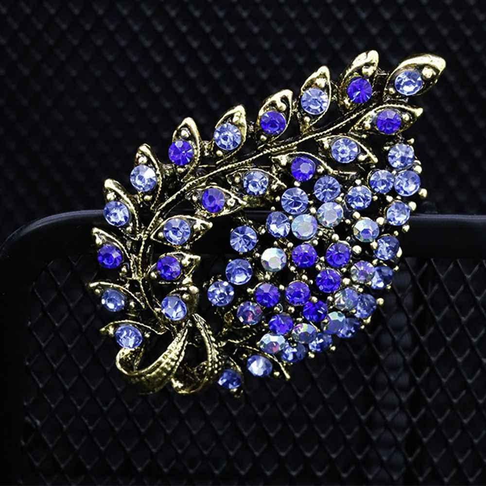 Berbagai Macam Warna Merah Kopi Biru dan Ungu Kristal Berlian Imitasi Bunga Daun Bros Pin Antik Vintage