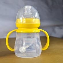 Cute Baby bottle Infant Newborn Cup Children Learn Feeding Drinking Handle Bottle kids Straw Juice water