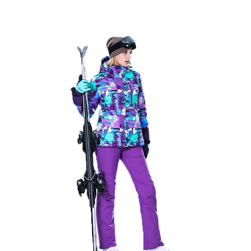 Nouveau 2018 sport d'hiver montagne ski costume pour femme combinaison de ski femmes femelle chaud snowboard vestes pantalons de neige veste de ski femme