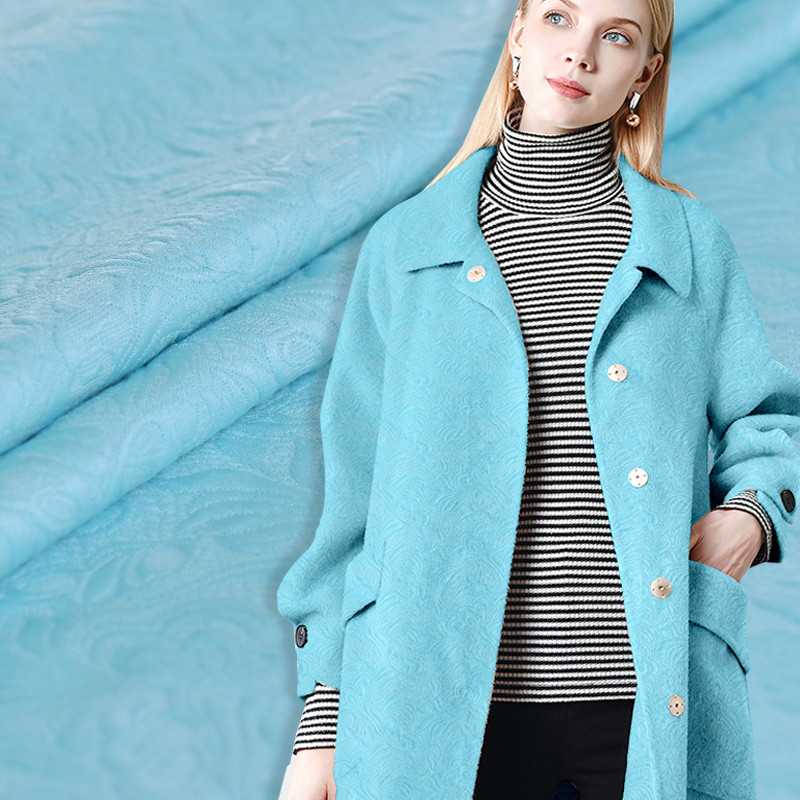 New sea blue heavy jacquard fashion cotton fabric high end jacquard fashion fabrics blended embroidery fabrics