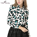 2017 New Fashion Leopard Chiffon Top Women Long Sleeve Blouses Slim Button Down Shirt Tees Femininas Office Lady Causal