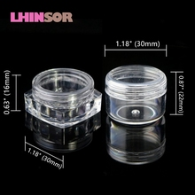 50pcs/lot Empty 5ml Clear Plastic Cosmetic Pot Jars for Nail Art Decorations Glitter Eyeshadow Makeup Face Cream  Containers