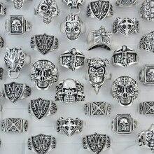 50 adet Sıcak Satış Kafatası İSA Vintage Stil Çapraz Gümüş Kaplama Erkekler Yüzükler Retro moda takı Toplu Çok LR183