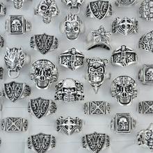 50 шт., мужские посеребренные кольца с черепом и Иисусом