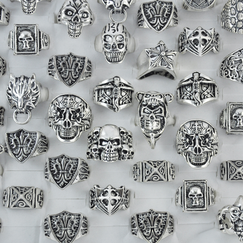 50pcs hot sale skull jesus vintage style cross silver Vintage style fashion rings