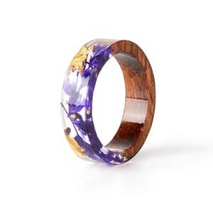 Женское кольцо ручной работы из дерева и смолы, кольцо с сушеными цветами внутри, украшения из смолы, прозрачное кольцо на годовщину 2019