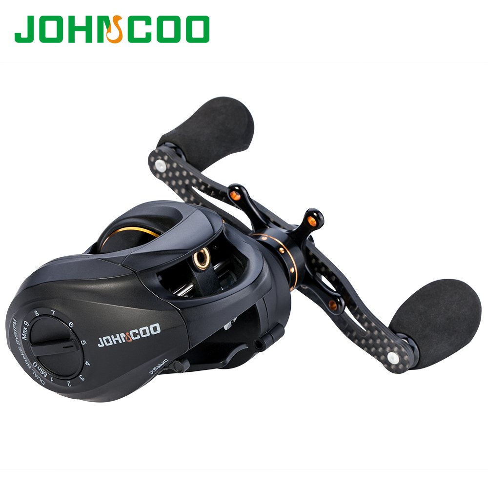 JOHNCOO Carbon Baitcasting Reel 13+1 BB Super Light Casting Centrifugal And Magnetic Brake System Bass Fishing Carp Molinete haibo overlord super light carbon fiber handle baitcasting fishing reel 5 4 1 8bb 1rb saltwater freshwater magnetic brake system