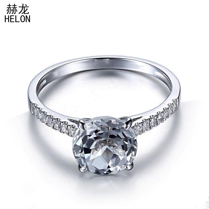 Solide 8mm rond coupe 100% véritable topaze blanche Pave diamants naturels bijoux 10 k or blanc pierre gemme fiançailles mariage Fine bague