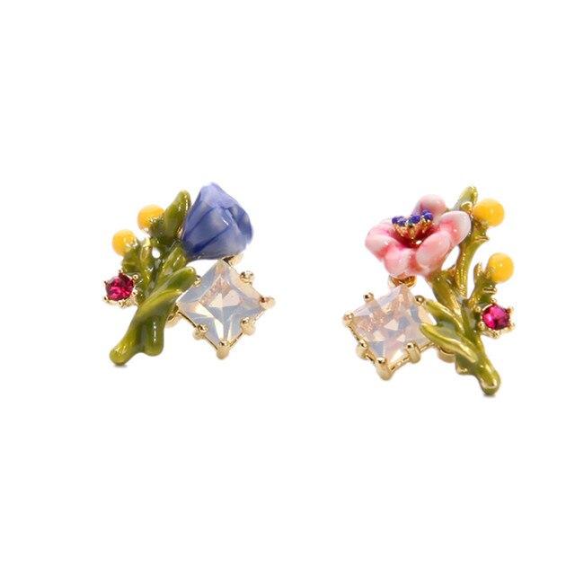 2016 бесплатная доставка Европейский и Американский стиль моды Личности эмаль глазури цветок ветви MS стад серьги