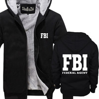 winter men thick hoodies male coat Federal Agent Bureau Of Investigation FBI Government Agent Secret Service Police man jacket