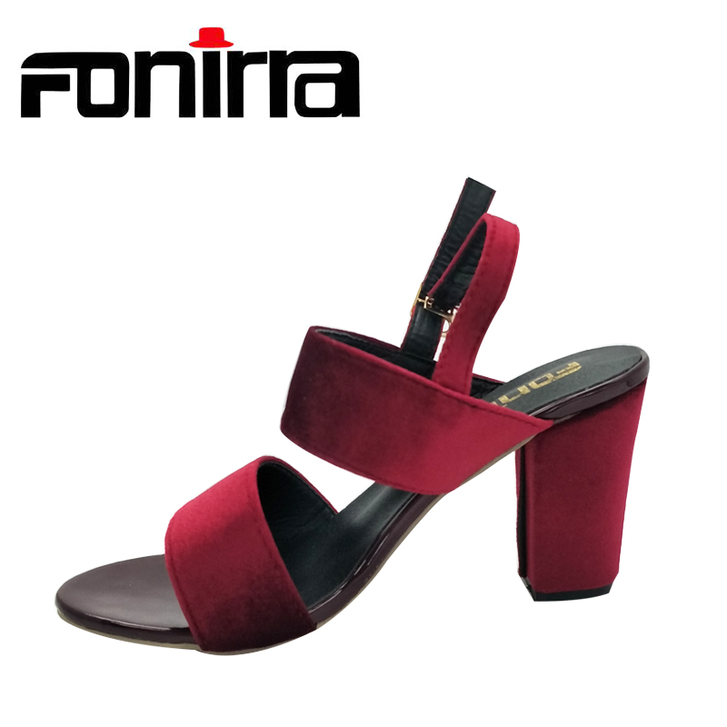 FONIRRA Women Sandals Ankle Strap Square Heel Sandals for Ladies High Heel Women Summer Pumps Shoes 559
