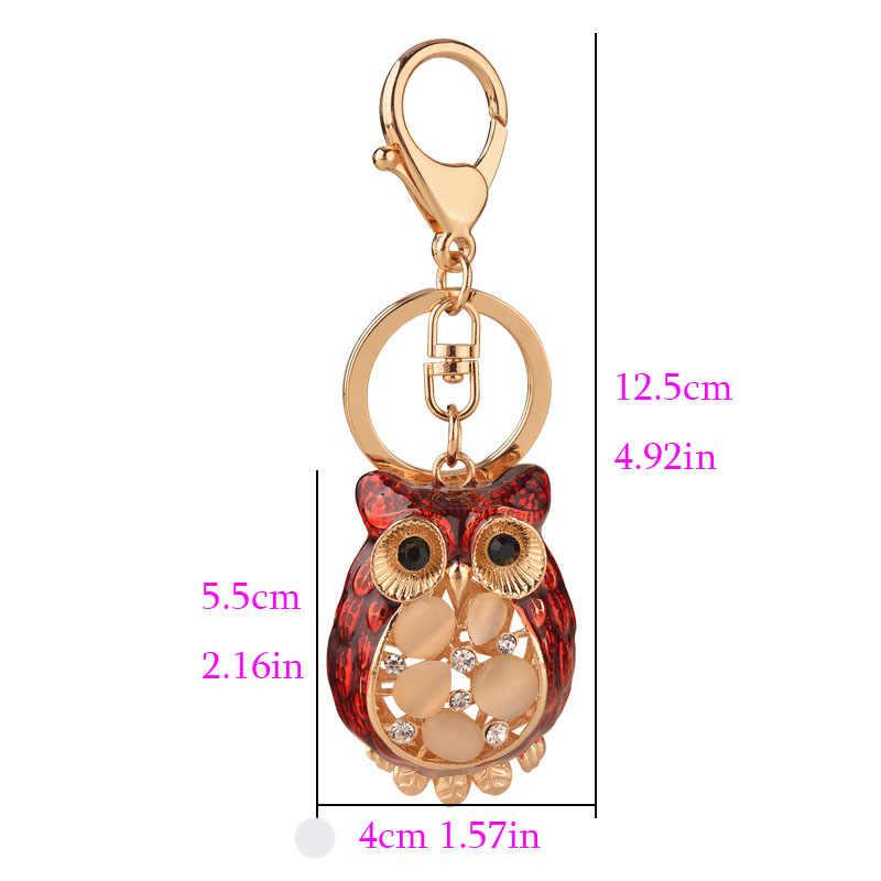 Thời trang chun bụng con cú dễ thương móc khóa chất lượng pha lê ren keyrings men kính móc khóa Túi xe động vật Móc khóa quà Tặng L40