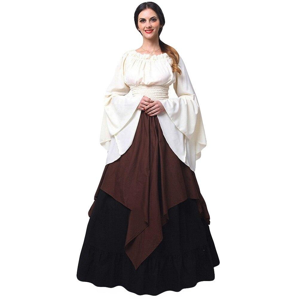 プラスサイズのドレス女性ヴィンテージルネッサンスファッションパーティードレスレディースローブファム長袖カラーブロック夏春vestidosバレエドレス少し創造的な工場