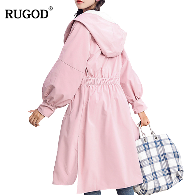 RUGOD 2018 New Female Casual Hooded   Trench   Coat Long Style Single Breasted Slim Solid Outerwear For Women Casaco Feminino