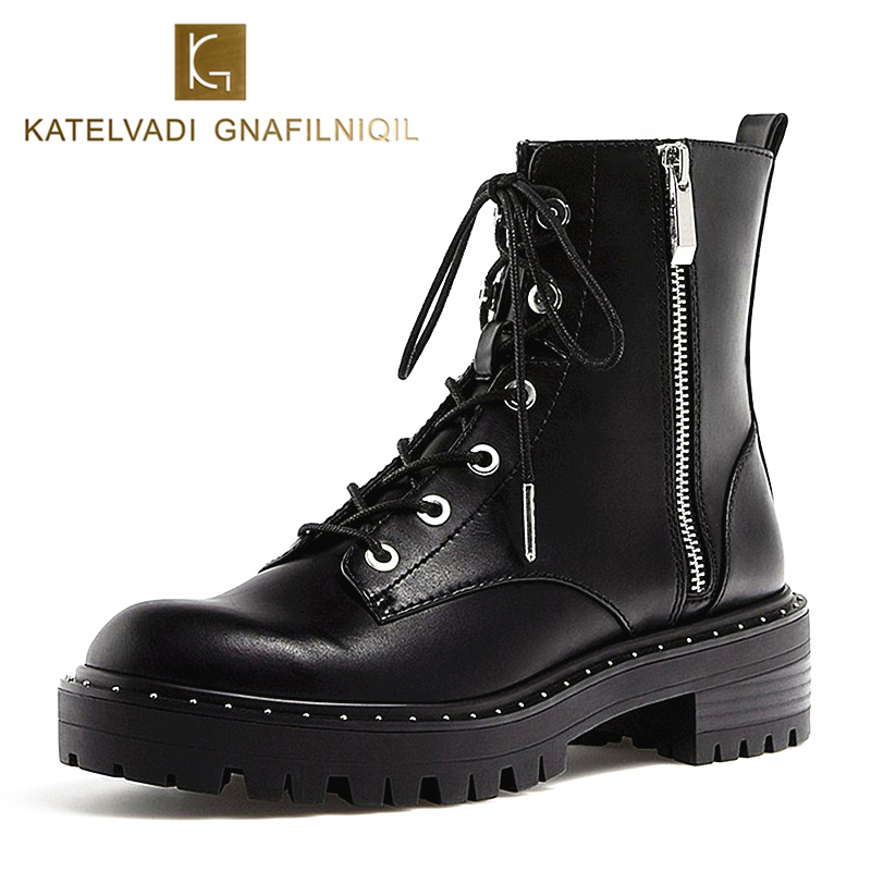 Brand Motorcycle Boots Women PU Leather Black Ankle Boots Woman Heels Lace Up Snow Shoes Round Toe Ladies Boots For Winter K-175 cuculus 2018 women boots fashion pu leather round toe ankle boots sexy lace ladies high heels platform shoes woman 331