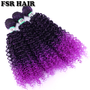 Image 2 - Black to Purple afro Kinky Curly hair weave synthetic hair extensions Ombre hair bundle