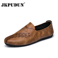 JKPUDUN Fashion Mens Loafers Leather Casual Shoes Luxury Brand Italian Designer Driving Lazy Shoes Men High