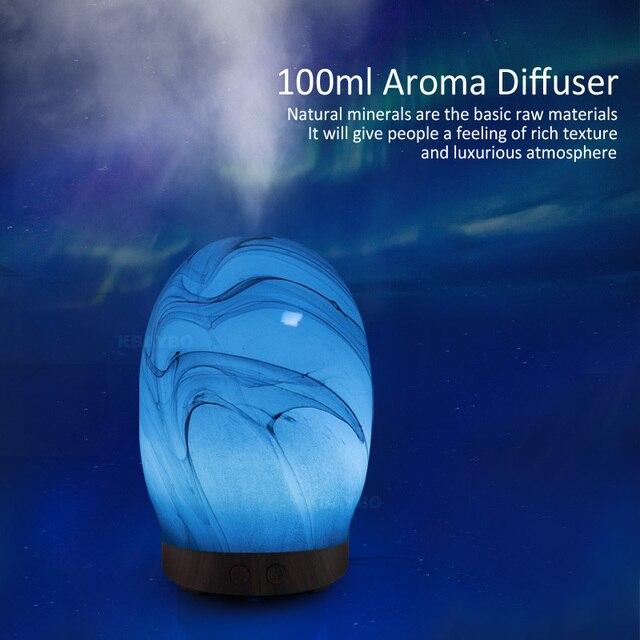 KBAYBO 100 ミリリットル電気アロマディフューザーアロマランプガラスアロマ家庭ウッド空気加湿器エッセンシャルオイルディフューザー