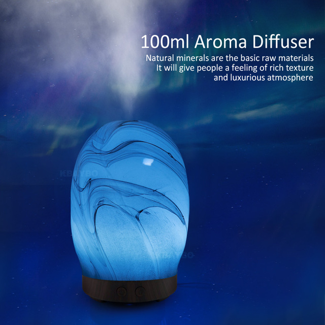 KBAYBO 100ml Electric Aroma Diffuser  Aroma Lamp Glass Aromatherapy for Home Wood  Air Humidifier Essential Oil Diffuser