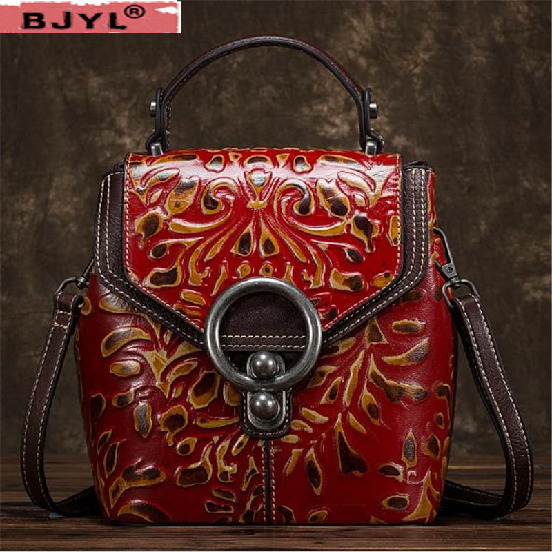 BJYL 2018 New women backpack Vintage craft fashion flowers shoulder bag embossed female cow leather backpacksBJYL 2018 New women backpack Vintage craft fashion flowers shoulder bag embossed female cow leather backpacks