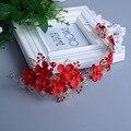 Diadema nupcial Celada de La Boda de cristal de Color Rojo de encaje vid de la flor Del Pelo Del Tocado de perlas pelo de la boda accesorios