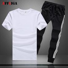 T Shirts set Sommer Marke T-shirt Männer Einfarbig Sportsuit Set 2017 T-Shirt Anzug Männlichen Männer Top Männer Hemd AFFLIGA jogginghose