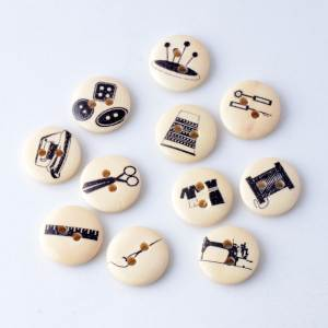 Wood-Buttons Clothing-Accessories Sewing-Tools Diy 2-Holes 10pcs 15mm Print for F0598