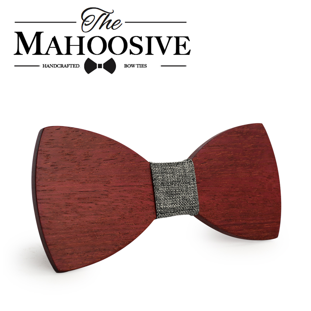 Mahoosive Newest Personality Pure Handmade Natural Wooden Leisure Men Wood Bow Ties Butterfly Design Noeud Papillon Homme