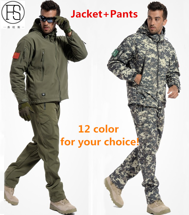 New TAD Tactical Soft Shell Jacket + Pants Camouflage Outdoor Men Army Sport Hunting Camping Waterproof Windbreaker Set 12 color tad jacket men waterproof zipper windbreaker multicam tan gray bk acu od cl 05 winter jacket