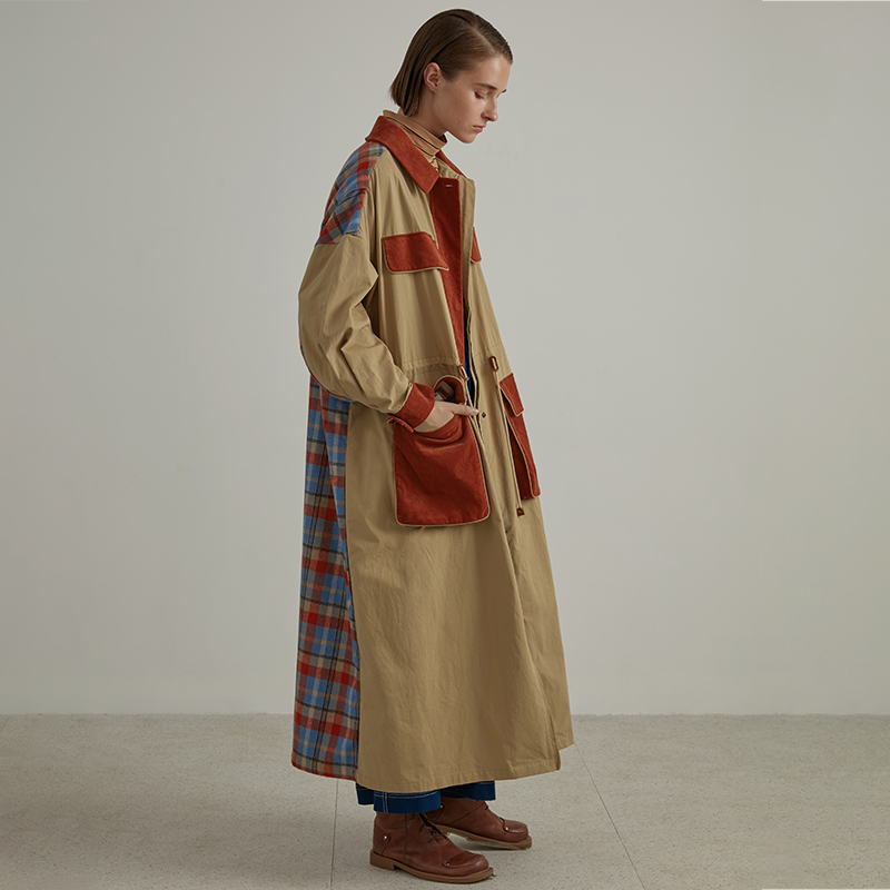 IRINAW141 New Arrival FW 2018 safari style vintage x long oversized wool plaid patchwork   trench   coat women