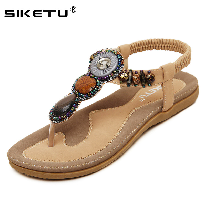 Flat Sandals Flip-Flops Summer Shoes Plus-Size Woman EU35-42 Beach WSH2066 Beading Femininas