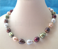 CBN371 Huge 19 15mm multicolor baroque rice freshwater pearl necklace GP clasp