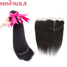 Miss Rola Hair Peruvian Straight 100% Human Hair 3 Bundles With 13 * 4 Lace Frontal Closure Natural Color Non Remy Hair Extensions