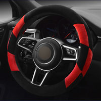 GLCC Braid On The Steering Wheel Cover Winter Warm Plush Sports 38CM Soft Car Steering Wheel