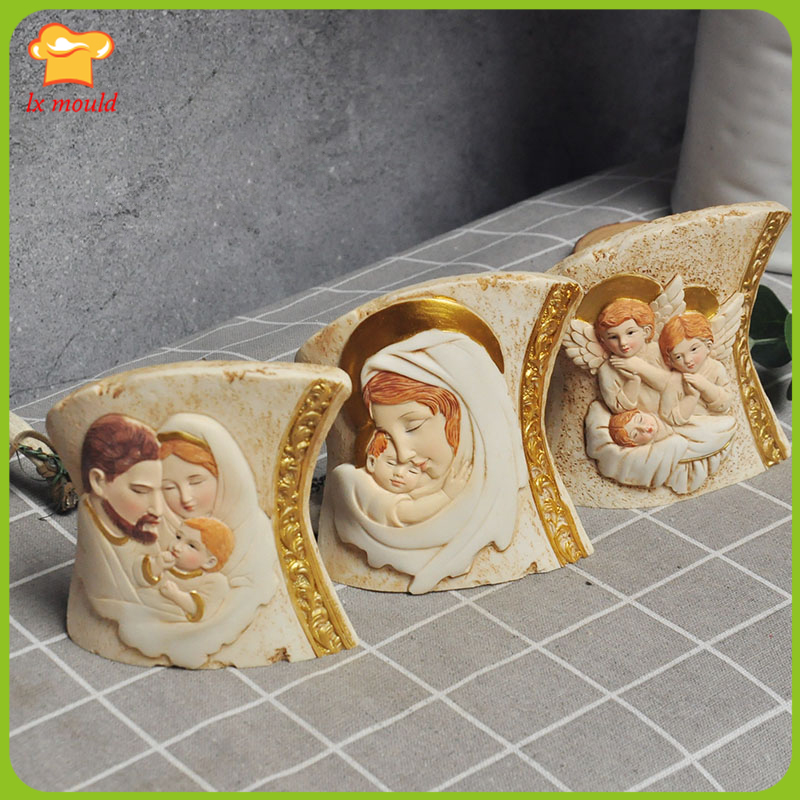 LX MOULD New Catholic Candle Silicone Mould Angel of the Virgin Home Soap Gypsum Soft Ceramic