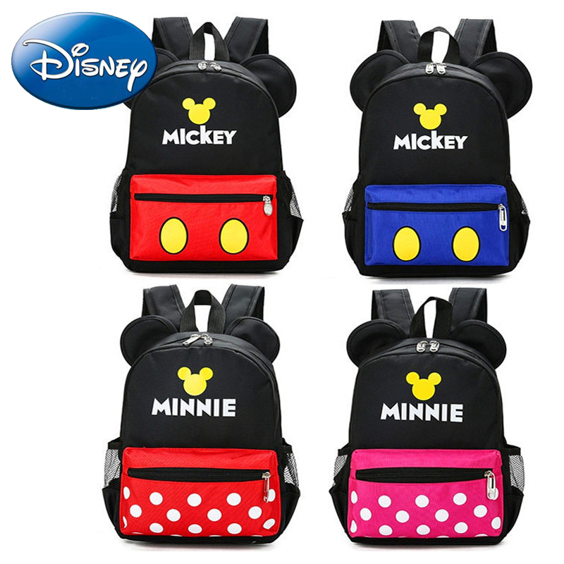8891f0d8d3 2018 Disney Backpack Minnie School Bags Girl Kid Cartoon Mickey Boy Baby Polyester  Backpacks Kindergarten Child Student Book Bag