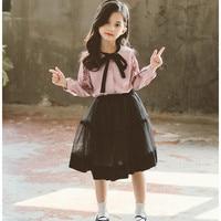 Girls Clothing Set Kid Tracksuit 2pcs Wooden Ear Tie Shirts + Chiffon Fake Tutu Skirts Outfit Sweety Baby Girls Two Piece Sets
