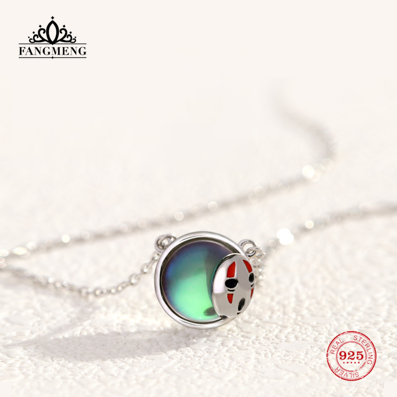 fangmeng Original Design Moonstone & Monster Mask Faceless Male Pendant Necklace 925 Sterling Silver Creative Collarbone Chain