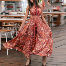 CUERLY Sexy backless halter women long summer dress Floral print boho lace up female vestidos Holiday beach vintage dresses