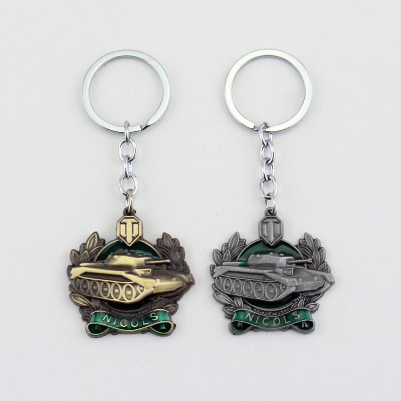 MQCHUN Hot Sale Game World Of Tanks Keychain WOT Pendant Keychain Keychain Metal Men Car Key Gift Tank War Keyring Jewelry