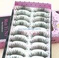 Fashion 10 Pairs Hand Made Natural Long Balck  False Eyelashes Eye Lash Makeup eye beauty tool wholesale K22