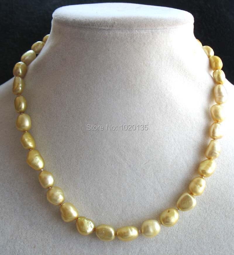 Пресноводный жемчуг цвета шампань 8-10 мм Ожерелье в стиле барокко 16 дюймов оптовая продажа