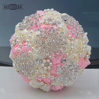 IN STOCK Best Selling Ivory Cream Brooch Bouquet Wedding Bouquet De Mariage Polyester Wedding Bouquets Pearl