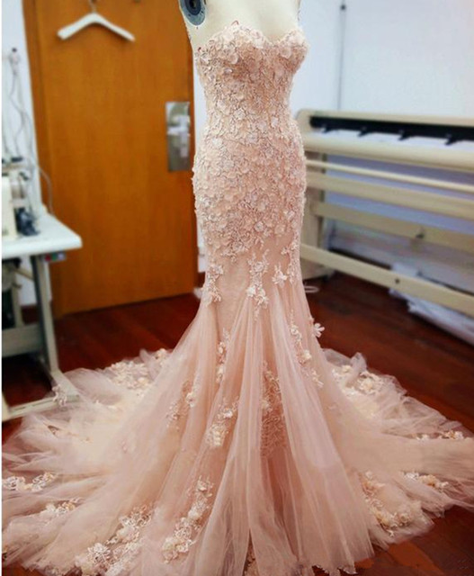White Blush Pink Wedding Dress Mermaid Sweetheart Lace Liques Tulle Bridal Long Sleeve