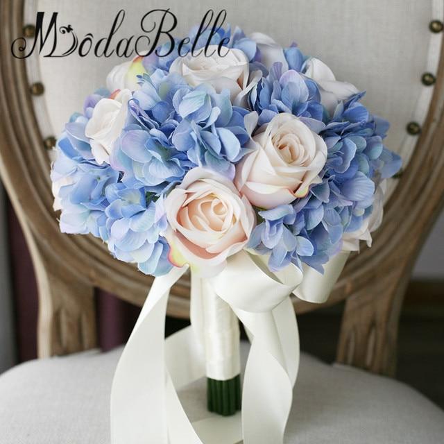 Us 42 0 Modabelle Handgemachte Rosen Hochzeit Buket Kunstliche Blumen Hortensien Blau Brautstrauss Brautjungfer Mit Blumen 2017 In Modabelle