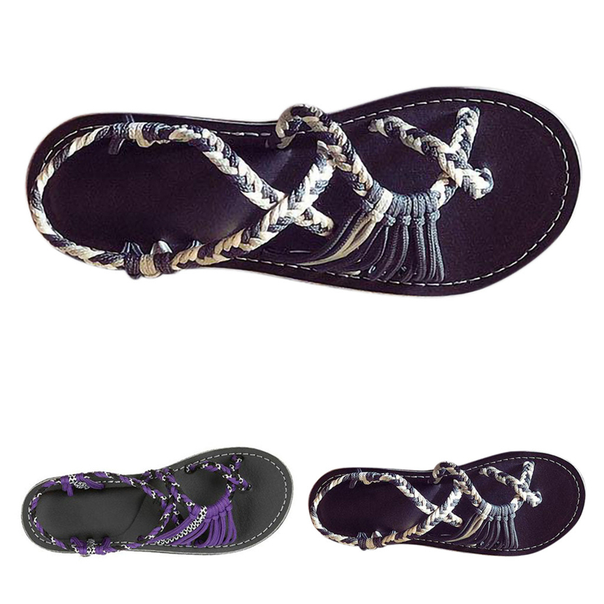 Sandals Flip-Flops Shoese Spring Casual Summer Outdoor Hemp Rope for Girls 40--Wear-Resistant