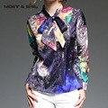 Hot Sale Winter Autumn Spring Printing  Pattern Women Long Sleeved  Elegant Purple Blouse T6N4116Y
